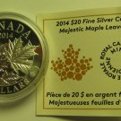 2014 Proof $20 Overlaid Majestic Maple Leaves #1 COIN&COA ONLY Canada .9999 silver twenty