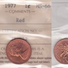 1977 ICCS MS66 1 cent Red Canada one penny JY 312