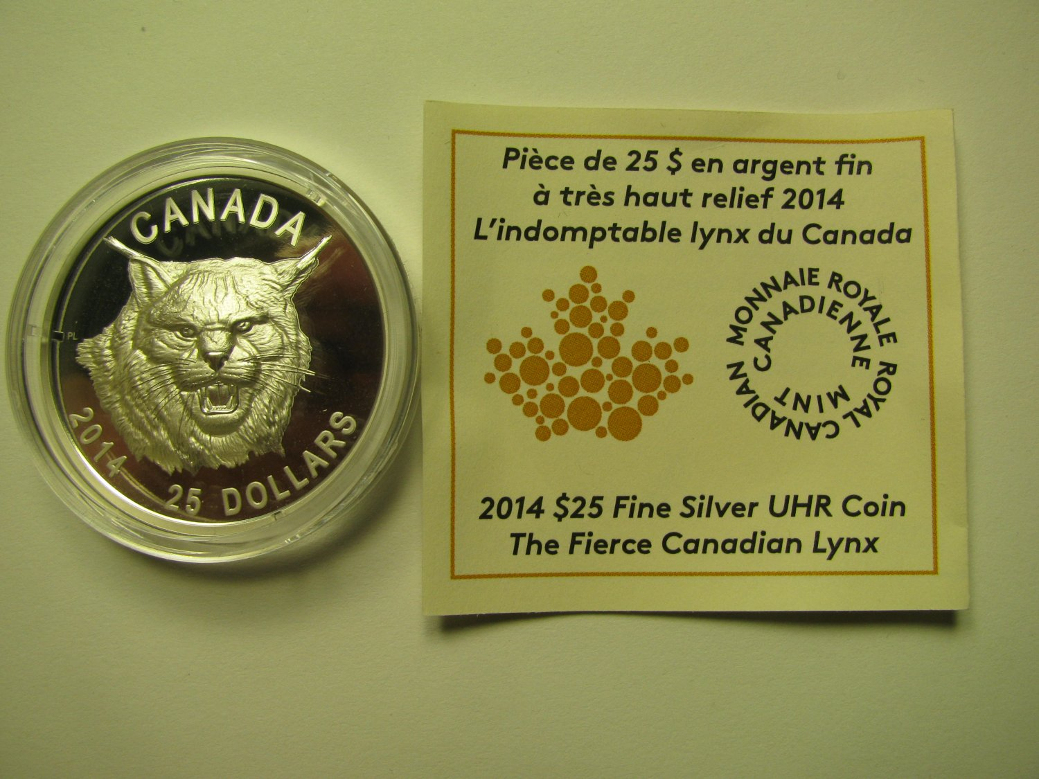 2014 Proof $25 Fierce Canadian Lynx UHR Canada COIN&COA ONLY Ultra High Relief .9999 silver