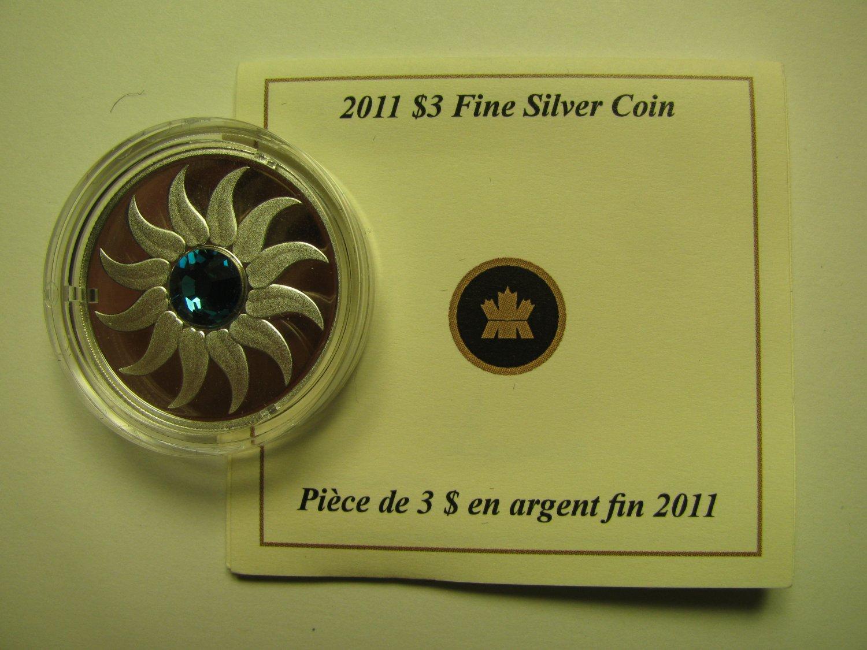 2011 Proof $3 Birthday December Zircon Birthstone Canada COIN&COA ONLY .9999 silver three dollars