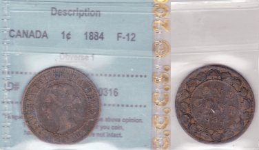 1884 CCCS F12 1 cent Obverse 1 Canada one penny large 100112.0000316