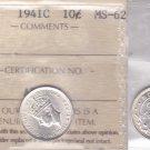 1941C ICCS MS62 10 cents Newfoundland NFLD NF ten dime silver AF 482