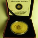 2010 Bullion $5 1oz .9999 SML w/ gold Hockey Player Canada Vancouver Olympics