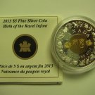 2013 Proof $5 Birth Royal Infant - Toys Baby Prince COIN&COA ONLY Canada .9999 silver w/ gold