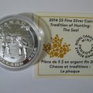 2014 Proof $5 Tradition of Hunting #3-Seal Harmony .9999 Silver COIN&COA ONLY Canada five dollars