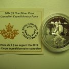 2014 Proof $5 Canadian Expeditionary Force Peace Freedom COIN&COA ONLY .9999 silver five dollars