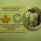 2014 Proof $5 Princess to Monarch Canada COIN&COA ONLY .9999 silver five dollars