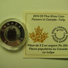 2014 Proof $5 Flowers #1-Tulip Canada .9999 silver COIN&COA ONLY niobium five dollars