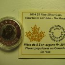 2014 Proof $5 Flowers #2-Rose Canada .9999 silver niobium COIN&COA ONLY five dollars