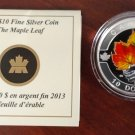 2013 Proof $10 O Canada - Maple Leaf Coloured .9999 silver COIN&COA ONLY