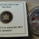 2013 Proof $10 O Canada - Orca (Killer Whale) .9999 silver COIN&COA ONLY