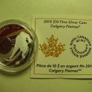 2015 Proof $10 NHL-Calgary Flames Canada .9999 silver COIN&COA ONLY ten dollars