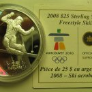 2008 Proof $25 2010 Vancouver Olympics #7-Freestyle Skiing Canada COIN&COA ONLY .925 silver