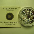 2013 Proof $20 Holiday Wreath w/ Crystals Canada COIN&COA ONLY .9999 silver twenty dollars