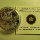 2013 Proof $20 300th Anniversary Louisbourg Canada COIN&COA ONLY .9999 silver twenty dollars