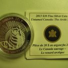 2013 Proof $20 Untamed Canada #1-Arctic Fox COIN&COA ONLY .9999 silver twenty dollars