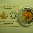 2014 Proof $20 Maple Leaves-Glow in the Dark Canada COIN&COA ONLY .9999 silver twenty dollars