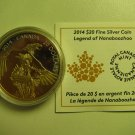 2014 Proof $20 Legend Nanaboozhoo .9999 silver w/ gold plate COIN&COA ONLY Canada twenty dollars