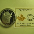 2014 Proof $20 The Bison #1-Portrait Canada .9999 silver COIN&COA ONLY twenty dollars