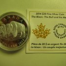 2014 Proof $20 The Bison #3-The Bull & His Mate Canada COIN&COA ONLY .9999 silver twenty dollars