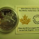 2014 Proof $20 White-Tailed Deer #3-Mates Canada COIN&COA ONLY .9999 silver twenty