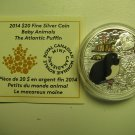 2014 Proof $20 Baby Animals #2-Atlantic Puffin Canada .9999 silver COIN&COA ONLY twenty