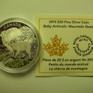 2015 Proof $20 Baby Animals #5-Mountain Goat Kid Canada COIN&COA ONLY .9999 silver twenty