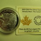 2015 Proof $20 Grizzly Bear #1-The Catch Canada COIN&COA ONLY .9999 silver twenty