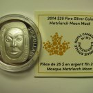 2014 Proof $25 Matriarch Moon Mask Ultra High Relief UHR COIN&COA ONLY .9999 silver Canada