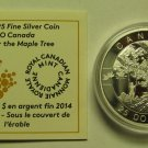 2014 Proof $25 O Canada #3-Under The Old Maple Tree 1oz .9999 silver COIN&COA ONLY twent
