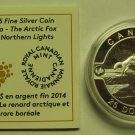 2014 Proof $25 O Canada #5-Arctic Fox Northern Lights 1oz .9999 silver COIN&COA