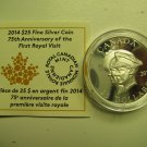 HALF PRICE 2014 Proof UHR $25 75th Anniversary 1st Royal Visit Canada COIN&COA ONLY UHR .9999 silver