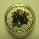2014 Proof $3 Gold Plated Maple Leaves SML from fractional set 1/4oz .9999 silver maple leaf