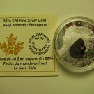 2016 Proof $20 Baby Animals #7-Porcupine Canada COIN&COA ONLY .9999 silver twenty