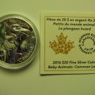 2016 Proof $20 Baby Animals #9-Common Loon chick Canada COIN&COA ONLY .9999 silver twenty dollars
