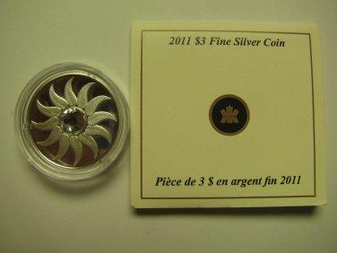 2011 Proof $3 Birthday April Diamond Birthstone Canada COIN&COA ONLY .9999 silver three dollars