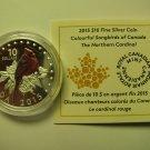 2015 Proof $10 Colourful Songbirds #1-Northern Cardinal COIN&COA ONLY Canada .9999 silver