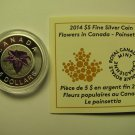 2014 Proof $5 Flowers #3-Poinsettia Canada .9999 silver niobium COIN&COA ONLY five dollars