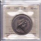 1977 ICCS MS65 $1 (Detached Jewel Short Water Line DJ SWL) Canada one dollar nickel KL 580