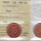 2001 ICCS MS66 1 cent Red Canada one penny XDR 027