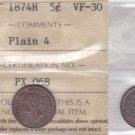 1874H ICCS VF30 5 cents Plain 4 (Small Date) Canada five half dime silver fishscale PX 068