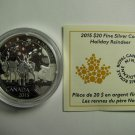 2015 Proof $20 Holiday Reindeer Canada COIN&COA ONLY .9999 silver twenty dollars Swarovski
