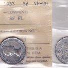 1953 ICCS VF20 5 cents SF FL (Shoulder Fold Far Leaf Mule) Canada five nickel WL 359