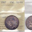 1947 ICCS MS64 25 cents Canada twenty-five quarter silver XXY 988