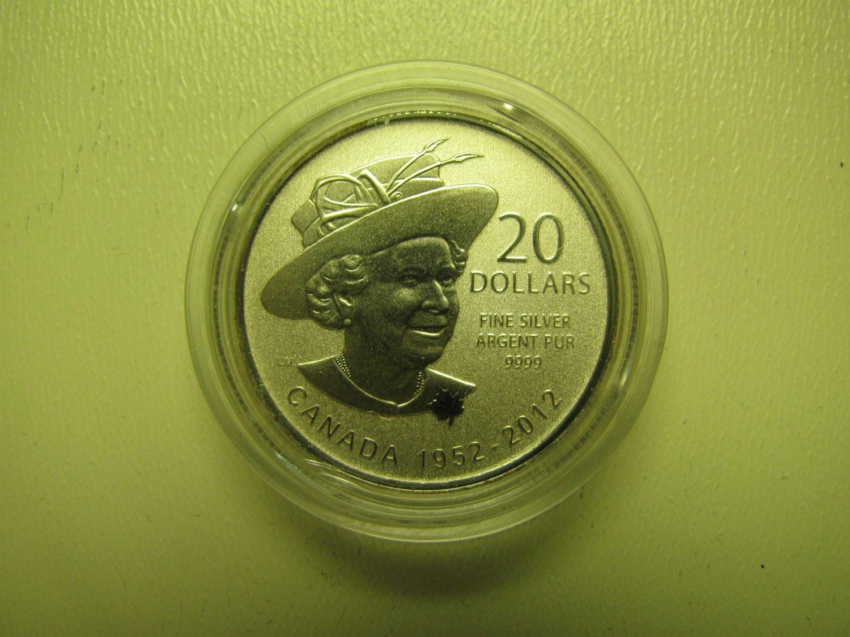 2012 Specimen $20 for $20 #4-Queen Diamond Jubilee Canada .9999 silver COIN ONLY twenty dollars