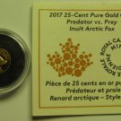 2017 Proof 25 cents Predator vs Prey #3-Inuit Arctic Fox 0.5g .9999 gold COIN&COA ONLY Canada