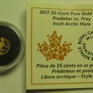 2017 Proof 25 cents Predator vs Prey #4-Inuit Arctic Hare 0.5g .9999 gold COIN&COA ONLY Canada