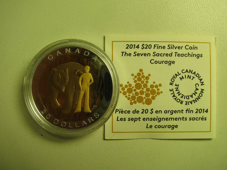 2014 Proof $20 Seven Sacred Teachings #3-Courage Bear COIN&COA ONLY Canada .9999 silver twenty