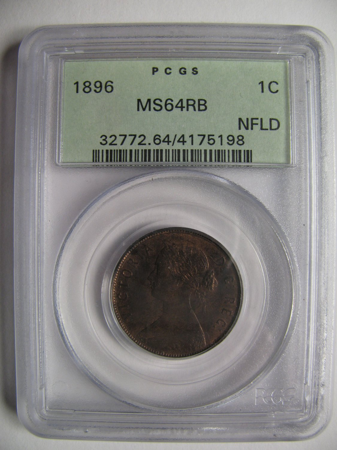 1896 Pcgs Ms64 1 Cent Rb Red Amp Brown Newfoundland Nfld Nf One Penny Large 4175198