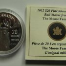 2012 Proof $20 Bull Moose from Moose Family Robert Bateman COIN&COA ONLY Canada silver twenty